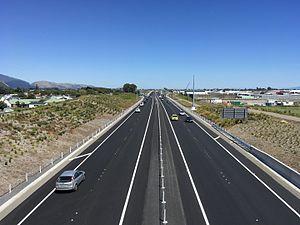 Kapiti Expressway - Looking south along the Kapiti Expressway towards the Kapiti Road interchange.