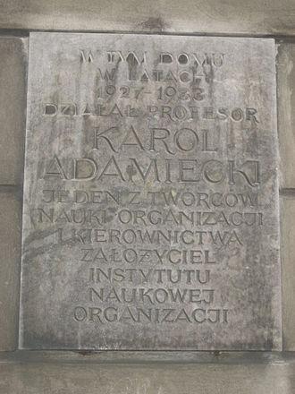 Karol Adamiecki - Plaque commemorating Adamiecki at ulica Mokotowska 51/53, Warsaw.