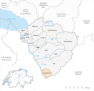Lavey-Morcles - Image: Karte Gemeinde Lavey Morcles 2008
