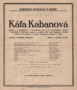 Káťa Kabanová - Poster for the premiere