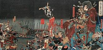Battle of Tenmokuzan - Edo period scroll depicting the last battle of Takeda Katsuyori