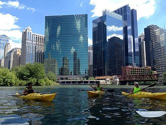Chicago River - Urban Kayakers take a break at Wolf Point with 333 West Wacker, Lake Street Bridge and the south skyline in the background