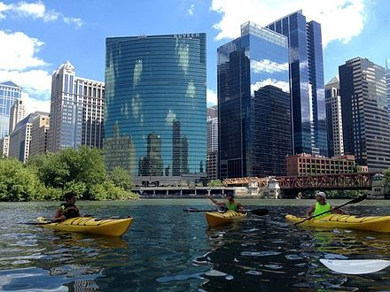 Kayakers take a break at Wolf Point with 333 West Wacker, Lake Street Bridge and the south skyline in the background Kayakers at Wolf Point, IL.jpg