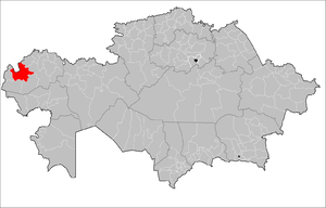 Location of Kaztal District in Kazakhstan