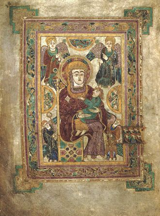 Trinity College Dublin - The Book of Kells is the most famous of the volumes in the Trinity College Library. Shown here is the Madonna and Child from Kells (folio 7v).