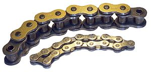 Roller chain - Two different sizes of roller chain, showing construction.