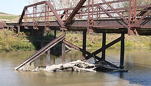 National Register of Historic Places listings in Tripp County, South Dakota - Image: Keya Paha Lewis Bridge pier