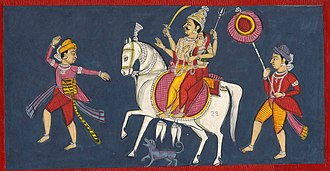Khandoba - A painting depicts Khandoba riding a white horse with Mhalsa, accompanied with a dog and attendants including a Waghya dancing before him.