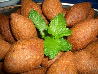 Kibbeh - Fried kibbeh Raas (Nabulsi kibbeh) with peppermint