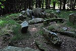 Photograph of the megalithic wedge tomb at Kilmashogue, County Dublin, Ireland