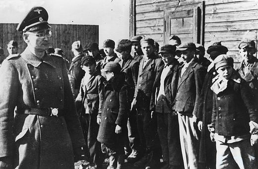 Boys' roll call at main children's concentration camp in Lodz (Kinder-KZ Litzmannstadt). A sub-camp was KZ Dzierzazna, for Polish girls as young as eight. Kinder Kz.jpg