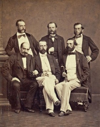 Oscar II of Sweden - Adjutant Daniel Nordlander (upper left), with Adjutant Fritz von Dardel, Ordonnance Officer Ferdinand-Alphonse Hamelin, General Henri-Pierre Castelnau, King Charles XV of Sweden and Prince Oscar, future King Oscar II of Sweden, at the International Exposition (1867) in Paris, France
