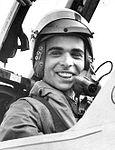King Hussein of Jordan preparing to fly a Vampire aircraft in 1955.jpg