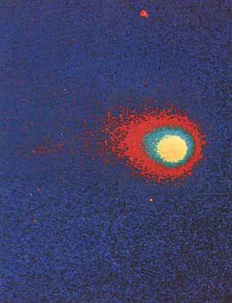 Coma (cometary) - Artificially colored far-ultraviolet image (with film) of Comet Kohoutek (Skylab, 1973)