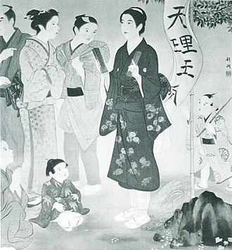 Nakayama Miki - Depiction of Nakayama Kokan spreading the divine name Tenri-O-no-Mikoto (天理王命) in Osaka.