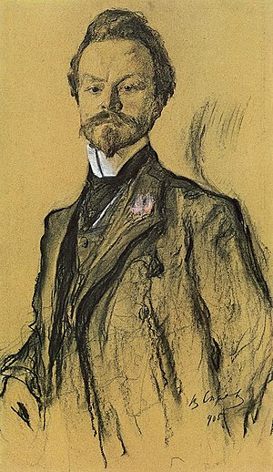Konstantin Balmont - Portrait of Konstantin Balmont by Valentin Serov. 1905.