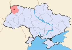 Map of Ukraine (blue) with Kovel (red) highlighted.