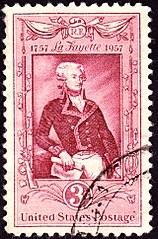 200th anniversary of the birth of Lafayette, 1957 issue
