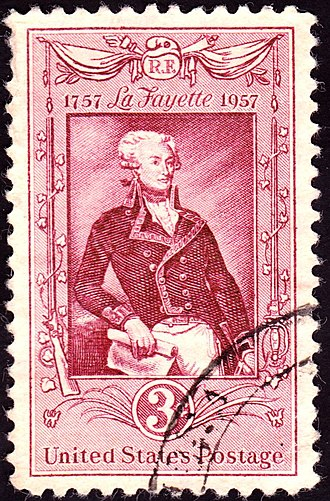 Honors and memorials to the Marquis de Lafayette - U.S. Postage Stamp, 1957 issue, 3c, commemorating 200th anniversary of the birth of La Fayette