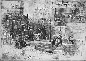 Félix Buhot - La place Pigalle en 1878 (1878), etching, aquatint and drypoint, New York Public Library.