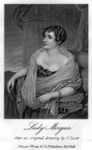Sydney, Lady Morgan - Lady Morgan, stipple and line engraving by Robert Cooper, 1825, after Samuel Lover