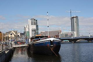 River Lagan River in Northern Ireland, flows through Belfast