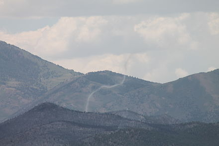An ash devil. The fire was in the Schell Creek and Antelope Mountain ranges Lages Wildfire in White Pine County, Nevada.JPG