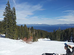 Lake Tahoe in winter seen from Homewood