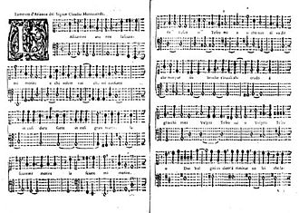 L'Arianna - First two pages of the first edition of the Lamento, published by Gardano in Venice in 1623