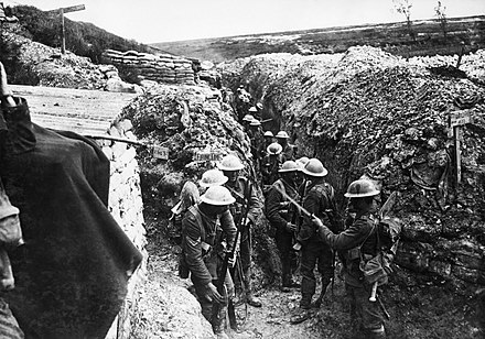 Men of the 1st Battalion, Lancashire Fusiliers in a communication trench near Beaumont Hamel, in 1916. Photo by Ernest Brooks. Lancashire Fusiliers trench Beaumont Hamel 1916.jpg