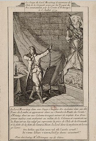 George Macartney, 1st Earl Macartney - Allegorical engraving of George Macartney after his capture at the battle of Grenada (1779).