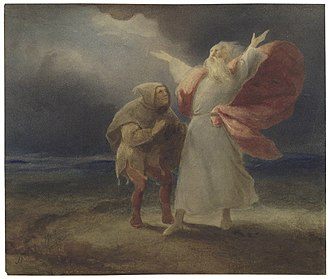 King Lear - A watercolour of King Lear and the Fool in the storm from Act III, Scene ii, of King Lear