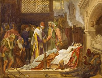 Characters in Romeo and Juliet - Frederic Leighton's 1854 watercolour The Reconciliation of the Montagues and Capulets