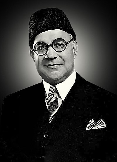 Liaquat Ali Khan, serving as first Prime Minister of Pakistan after independence (1947-1951). Liaquat Ali Khan 1945.jpg