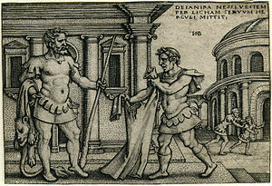 Shirt of Nessus - Lichas bringing the garment of Nessus to Hercules (as Heracles was known in Roman mythology), woodcut by Hans Sebald Beham, circa 1542-1548.