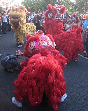 Asians are Auckland's fastest growing ethnic group. Here, lion dancers perform at the Auckland Lantern Festival. Lion dancers at the Auckland lantern festival 2010.jpg