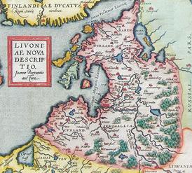 Карта Ливонии из атласа Абрахама Ортелия, XVI век