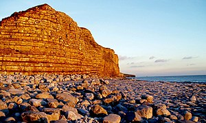 English: Llantwit Major The cliffs at sunset.