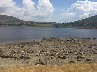Llyn Celyn - Llyn Celyn during the extended hot spell of summer 2018, showing low water levels.