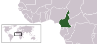 A map showing the location of Cameroon