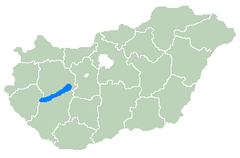 Балатон - Location of Lake Balaton within Hungary