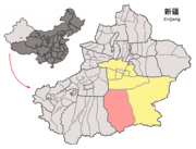 Location of Qiemo within Xinjiang (China).png