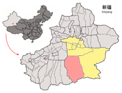 Location of Qiemo County (pink) in Bayingolin Prefecture (yellow) and Xinjiang