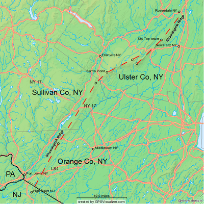 appalachian trail new jersey map with Shawangunk Ridge on Mount Minsi as well Shawangunk Ridge also Our Trip In Google Maps New York City To San Antonio Texas furthermore Howard Tunnel likewise 5 Regions Of Georgia.