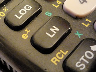 Logarithm - The logarithm keys (log for base-10 and ln for base-e) on a typical scientific calculator