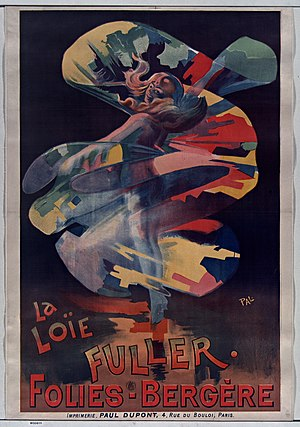 Loie Fuller - Loïe Fuller at the Folies Bergère, poster by PAL (Jean de Paléologue).