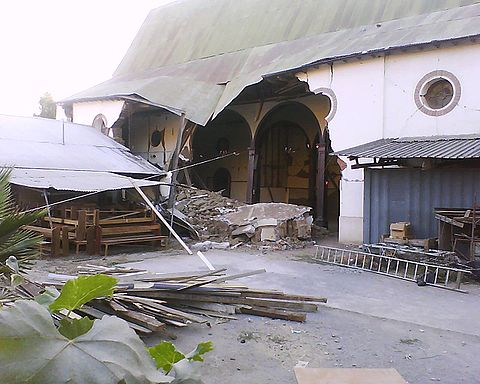 Lolol church after the March earthquake. Image: Diego Grez.