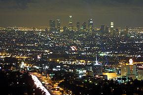 Panorama notturno di Downtown