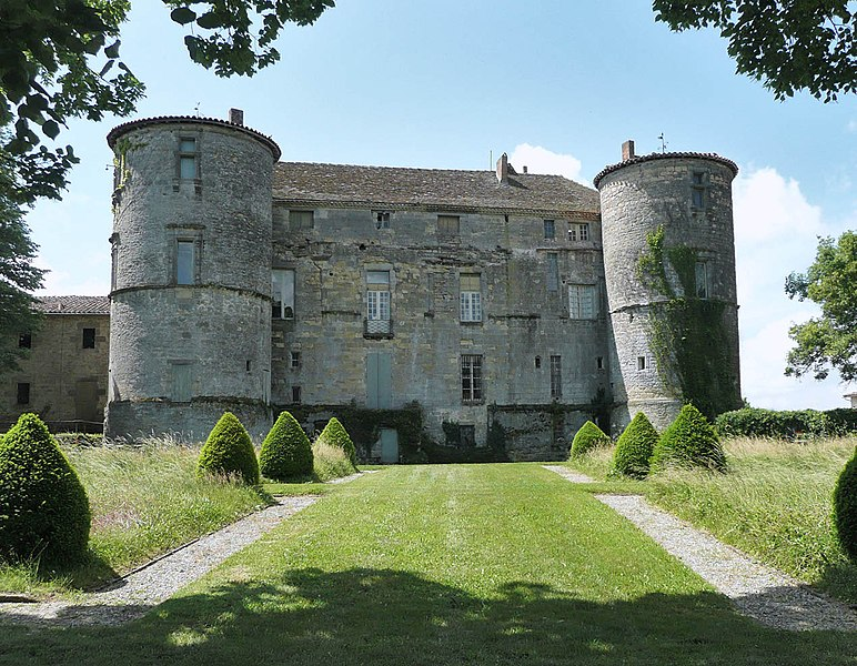 Castle of Loubens-Lauragais, Haute-Garonne, Midi-Pyrénées, France. The north facade, facing the park, is framed by two defensive round towers.
