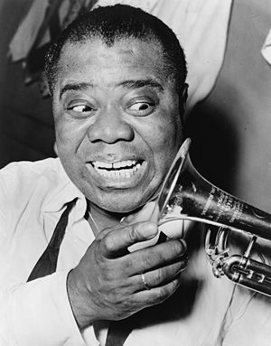Louis Armstrong, head-and-shoulders portrait, ...